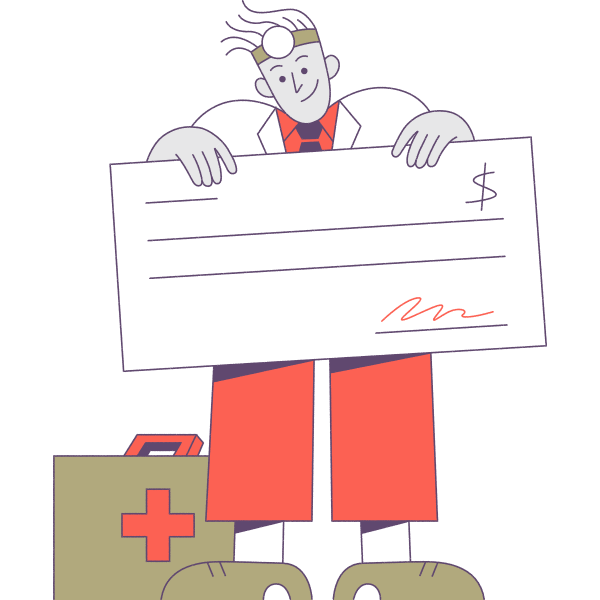 Illustration of physician with paycheck