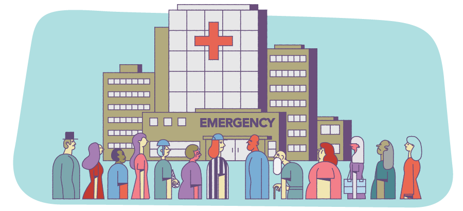 illustration of emergency room during the pandemic