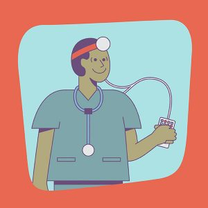illustration of locum tenens physician listening to podcasts