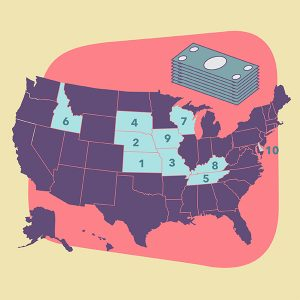 map of highest paying states for locum tenens physicians